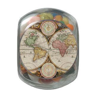 Antique World Map Two Hemispheres Rare Vintage Art Glass Candy Jars