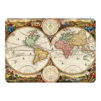 Antique World Map Two Hemispheres Rare Vintage Art 5x7 Paper Invitation Card