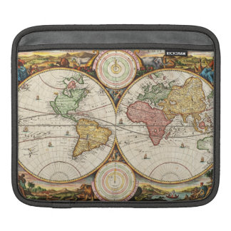 Antique World Map Two Hemispheres Rare Vintage Art Sleeves For iPads