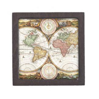 Antique World Map Two Hemispheres Rare Vintage Art Premium Keepsake Box