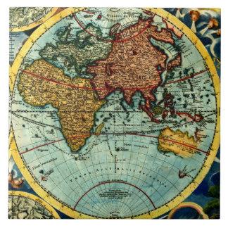 Antique World Map Vintage Art Ceramic Wall Decor Ceramic Tile