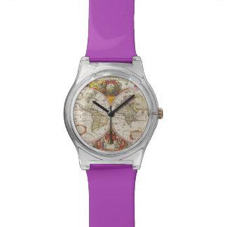 Antique World Map Wrist Watch