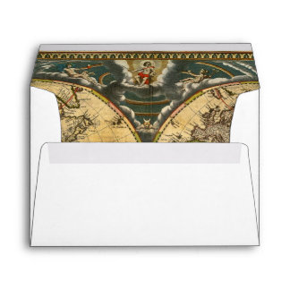 Antique World Map White #2 BG A7 5x7 Envelope