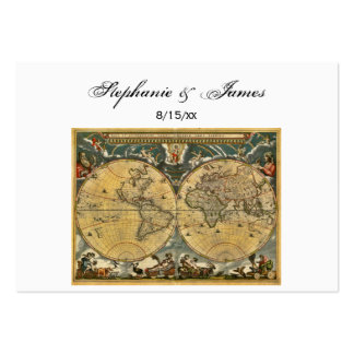 Antique World Map White #2 Escort Cards Business Card