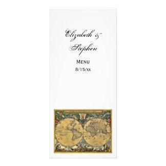 Antique World Map White #2 Menu Card Full Color Rack Card