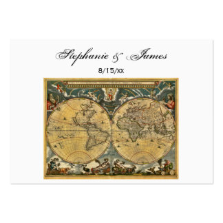 Antique World Map White #2 Place Cards Large Business Cards (Pack Of 100)