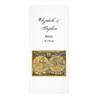 Antique World Map White BG #3 Menu Card Personalized Rack Card