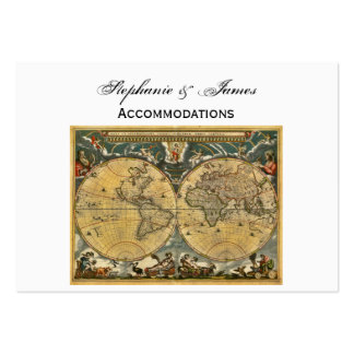 Antique World Map White BG Accommodations Business Cards