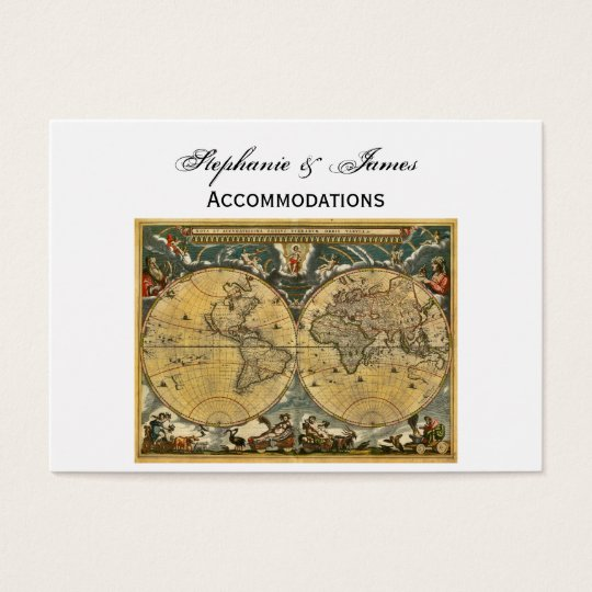 Antique World Map White BG Accommodations Business Card
