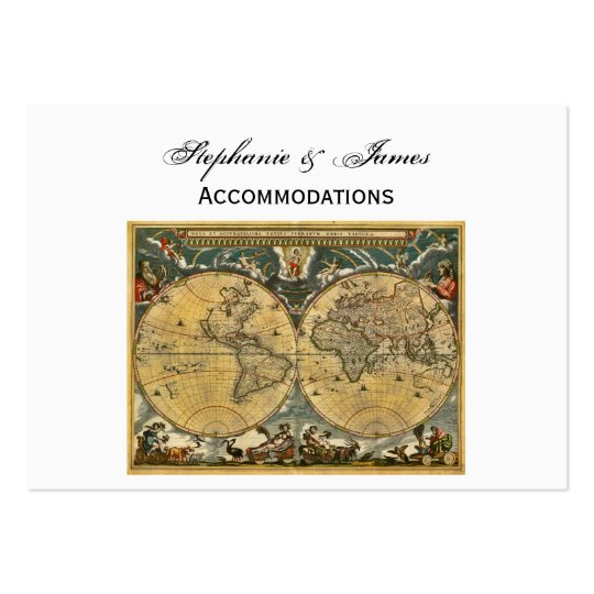Antique World Map White BG Accommodations Large Business Card