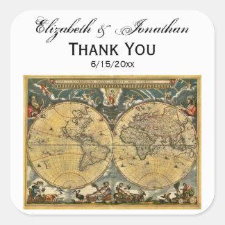 Antique World Map, White BG Envelope Seals