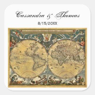 Antique World Map White BG envelope seals