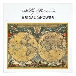 Antique World Map, White BG SQ Bridal Shower 5.25x5.25 Square Paper Invitation Card