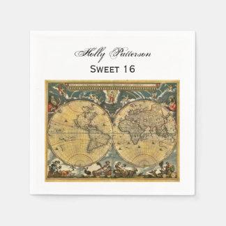 Antique World Map White BG SQ Sweet 16 Paper Napkins