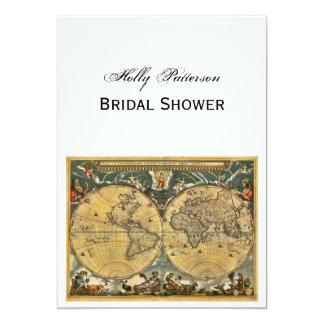 Antique World Map, White BG V Bridal Shower 5x7 Paper Invitation Card