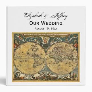 Antique World Map White BG Wedding Binder
