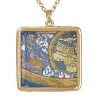 Antique World Map with Claudius Ptolemy, 1507 Gold Plated Necklace