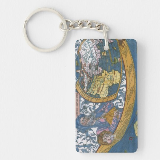 Antique World Map with Claudius Ptolemy, 1507 Keychain