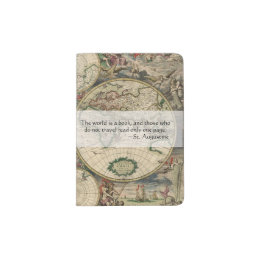 Book quotes passport holders covers zazzle antique world map world is a book travel quote passport holder gumiabroncs Images