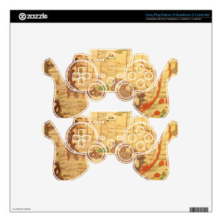 Antique world maps decal for PS3 controller
