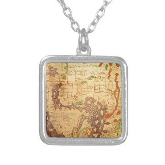 Antique world maps square pendant necklace