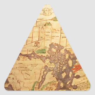 Antique world maps triangle sticker