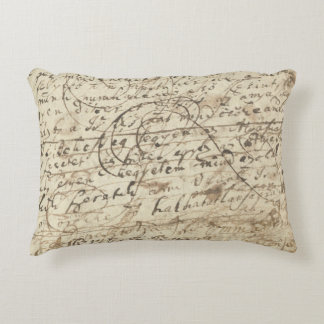 Antique writing, letters & scribbles from old book accent pillow
