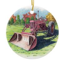 Antique Yard Tractor Ceramic Ornament
