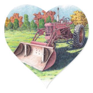 Antique Yard Tractor Heart Sticker