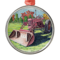 Antique Yard Tractor Metal Ornament