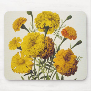 Antique Yellow Flowers Mouse Pad