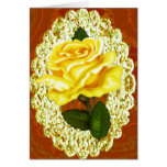 Antique Yellow Rose Greeting Card. Greeting Card