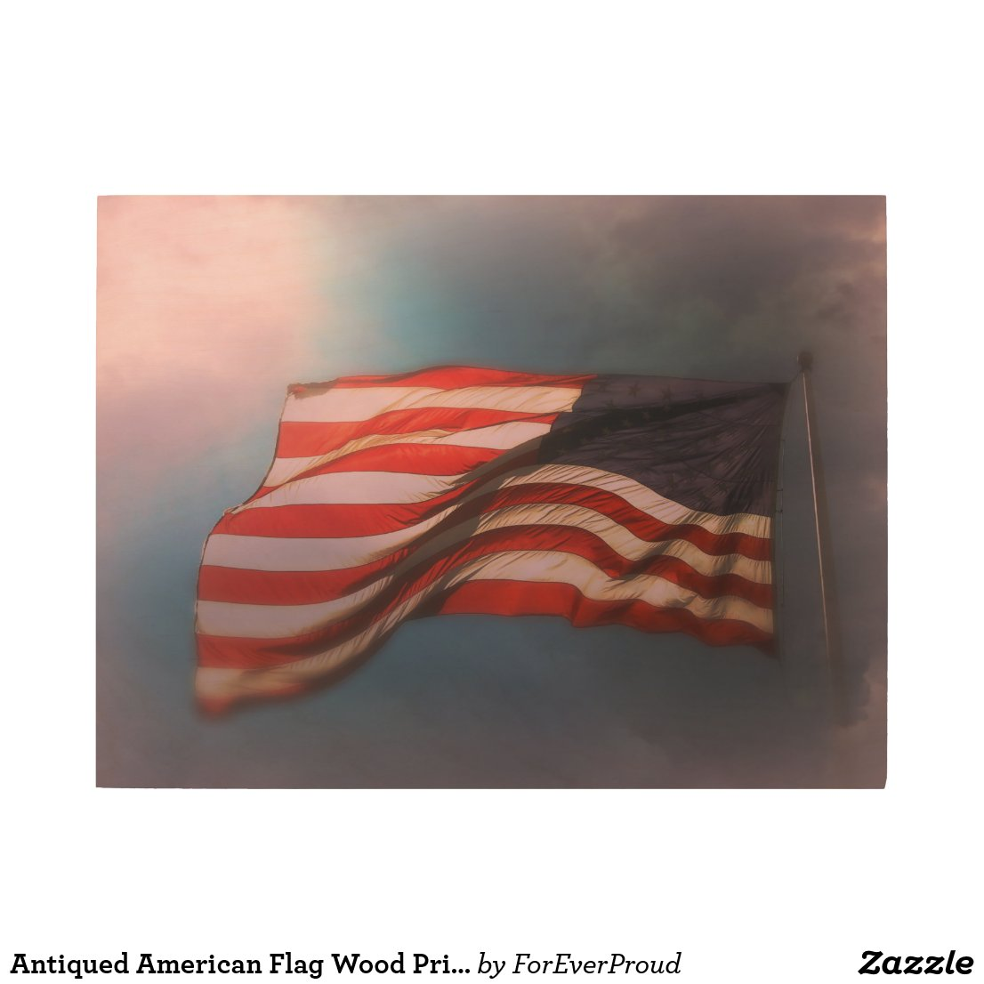 Antiqued American Flag Wood Print 24 x 18