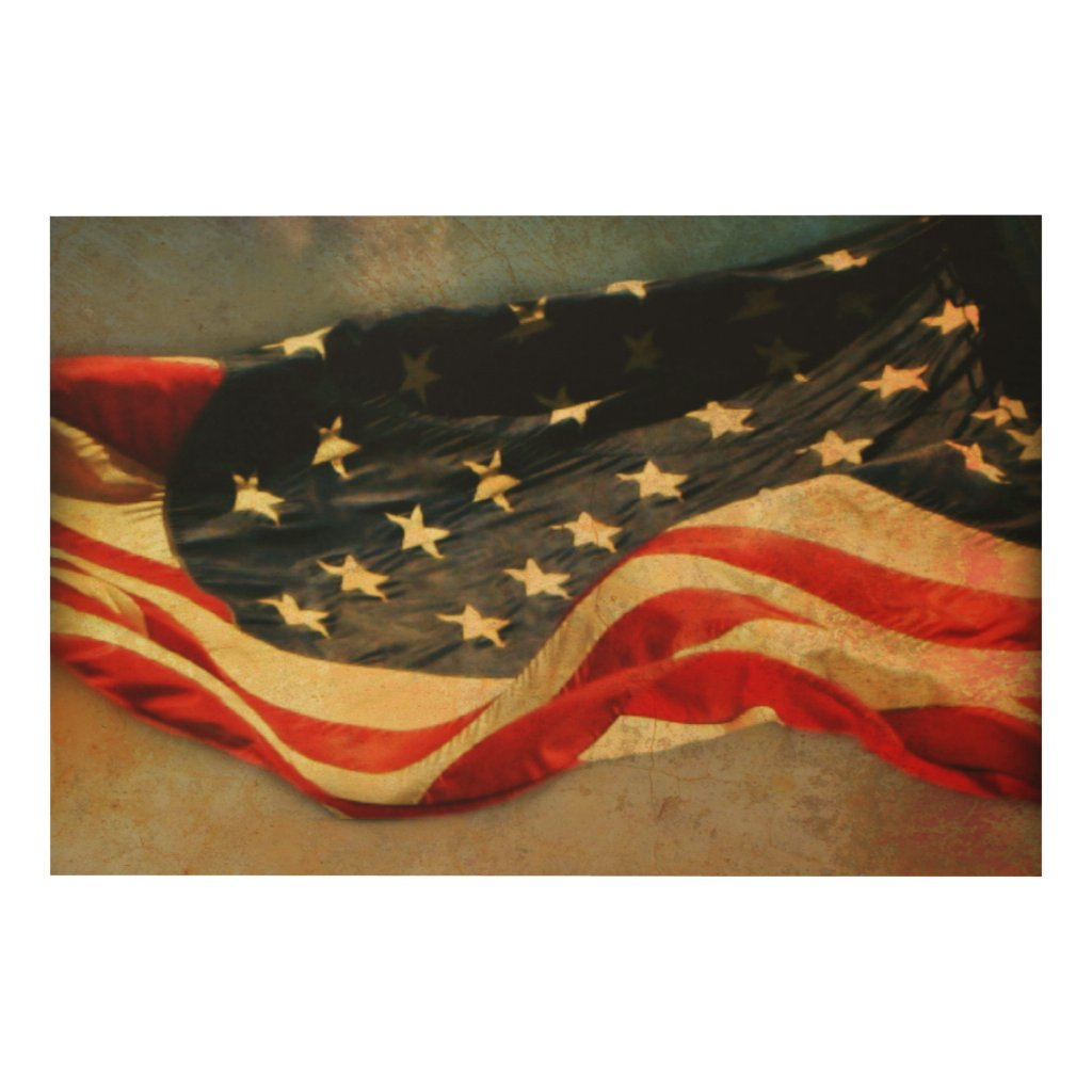 Antiqued American Flag Wood Print 36 x 24