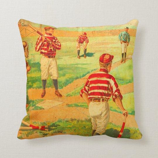 Antiqued Baseball Vintage Postcard Art Throw Pillow