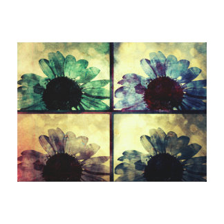Antiqued Blue and Green Sunflower Collage Canvas Print