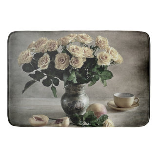 Antiqued Bouquet of Yellow Roses and Peaches Bathroom Mat