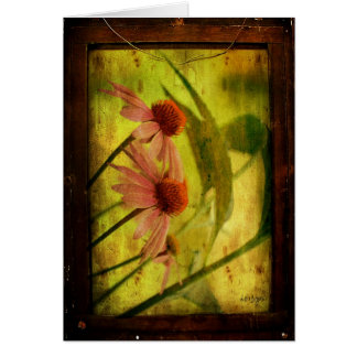 Antiqued Cone Flowers Framed - Birthday Card