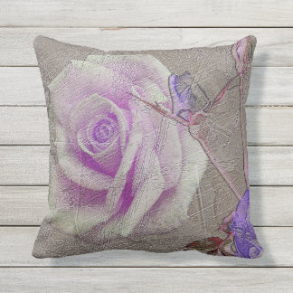 Antiqued Distressed Purple Rose Scratch Texture Outdoor Pillow