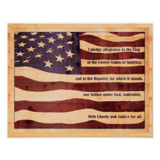 Antiqued flag with pledge of allegiance wood look poster