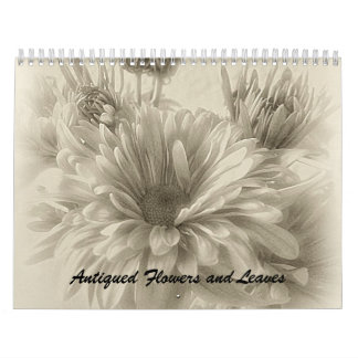 Antiqued Flowers and Leaves Calendar