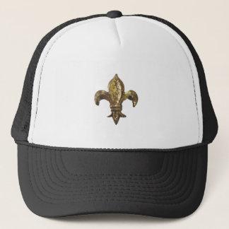 ANTIQUED GOLD FLEUR DE LIS PRINT TRUCKER HAT