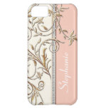 Antiqued Gold Golden Swirl Faux Jewel Personalized iPhone 5C Cover
