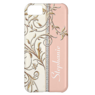 Antiqued Gold Golden Swirl Faux Jewel Personalized Case For iPhone 5C