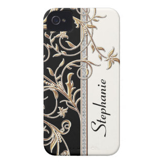 Antiqued Gold Golden Swirl Faux Jewel Personalized iPhone 4 Case