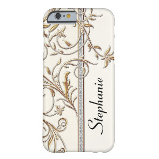 Antiqued Gold Golden Swirl Faux Jewel Personalized iPhone 6 Case