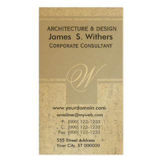 Antiqued Golden Aged  Contemporary Business Card