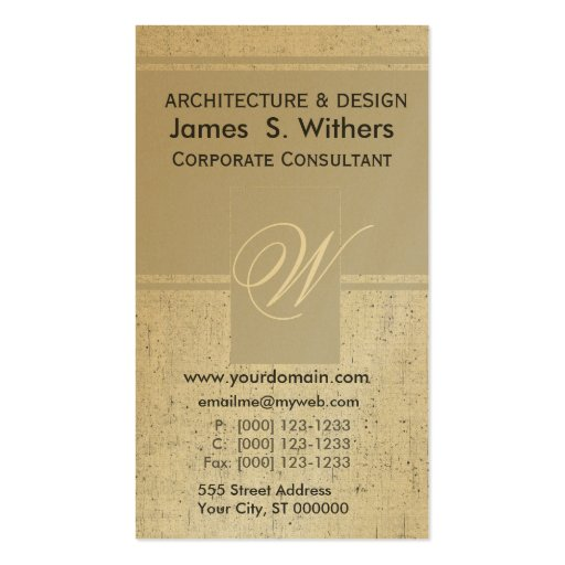 Antiqued Golden Aged  Contemporary Business Card Templates