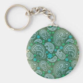 Antiqued Green Paisley Key Chain