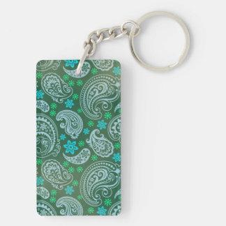 Antiqued Green Paisley Rectangular Acrylic Key Chain